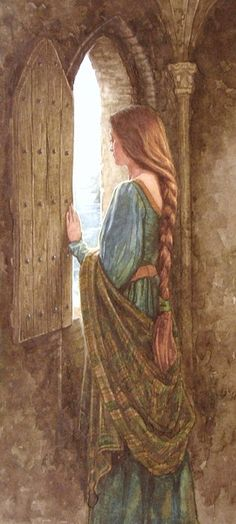 """""""The beautiful Eithlinn held captive in a tower"""" illustration for the tale of """"Moytura"""" from the book """"The Names Upon the Harp,"""" a book of Irish Myths & Legends, written by Marie Heaney & illustrated by P. (Patrick James) Lynch, a famous Irish artist. Lady In Waiting, Pre Raphaelite, Medieval Fantasy, Celtic Fantasy Art, Celtic Art, Fairy Tales, Art Photography, Art Gallery, Illustration Art"""