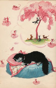 """Kitty Cat Dreams ~ From the 1945 Book """"Miss Sniff The Fuzzy Cat"""", illustrated by Florence Sarah Winship."""
