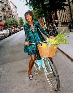 shala monroque on her bike. Street Style. #Africanfashion #AfricanClothing #Africanprints #Ethnicprints #Africangirls