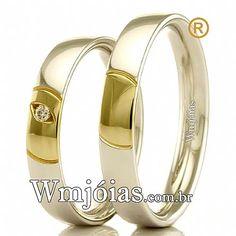 895f67b8034d8 Aliança de noivado e casamento Aliança em ouro branco e amarelo 18k 750  Peso  8
