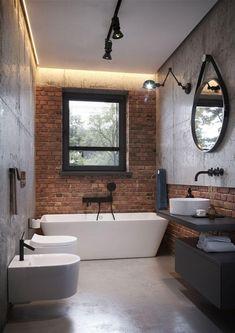 Home Decor For Small Spaces Miarodajny - wariant I.Home Decor For Small Spaces Miarodajny - wariant I Brick Bathroom, Tiny House Bathroom, Bathroom Interior, Best Bathroom Designs, Bathroom Design Small, Modern Bathroom, Flat Interior, Dream House Plans, Beautiful Bathrooms