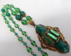 Max Neiger, Czech, Green Glass Art Deco Necklace
