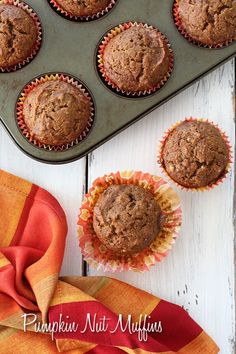 Pumpkin Nut Muffins – made low fat, with very little oil, but lots of pumpkin taste. The pecans add a little crunch in every bite that I just love!