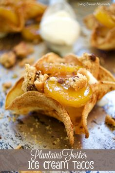 ... creamy frozen ice cream and hot plantains foster and then topped with