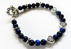 Beautiful Bracelet-Blue Lapis Stones-Celtic Heart Beads by rosaliascharm on Etsy