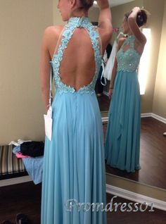 2015 cute sky blue lace chiffon vintage open back modest prom dress for teens, ball gown, evening dress #promdress #wedding
