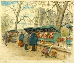 "The ""bouquinistes"" - Quai de la Tournelle   Paris Tavik F. Simon (1877-1942)"