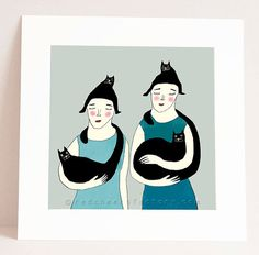 giclee print  women with cats   cat art print  by RedCheeksFactory