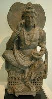 Buddha on altar from Nswag, Pakistan, Ghandara, Swat Valley, Kushan Period III century