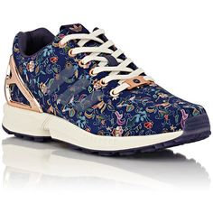 adidas Women's Women's Limited Edt ZX Flux Sneakers ($130) ❤ liked on Polyvore featuring shoes, sneakers, lace up sneakers, floral flat shoes, flat shoes, lace up flat shoes and floral shoes