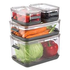 Kitchen Living Rooms Remodeling Veggie Smart Storage Containers - These brilliant bins help your fresh foods last longer with closable vents and trays for water. Diy Kitchen Storage, Basement Storage, Smart Kitchen, Kitchen Items, Kitchen Gifts, Kitchen Gadgets, Basement Doors, Cosy Kitchen, Kitchen Labels