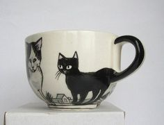Black and White Cat on rooftop - Handpainted Porcelain Mug ...