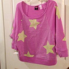 Shirt Cute sweatshirt in orchid with yellow stars. The Stars have a bit of green. Clear sequins are in front panel. The color combo makes this so striking. Hard Candy Tops Sweatshirts & Hoodies