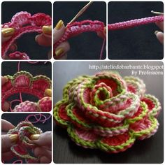How to Crochet Pretty Rose Flower (Video)