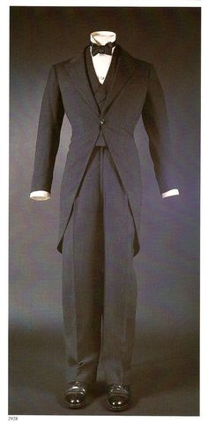 Duke of Windsor Morning Suit, 1931 men's vintage fashion style 30s black jacket vest pants tails bow tie tuxedo