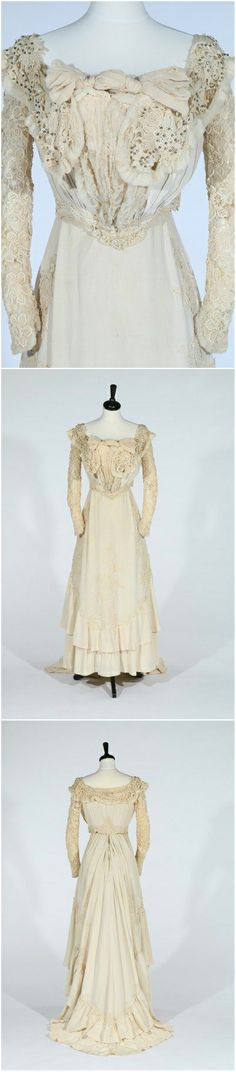 A Paquin ivory crêpe and lace debutante or bridal gown, c. 1900, Kerry Taylor Auctions via Live Auctioneers