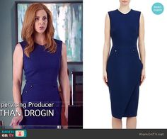 Donna's blue dress with side buttons on Suits. Outfit Details: http://wornontv.net/51233/ #Suits