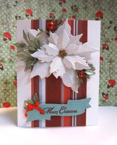 White Poinsettia Christmas Card by Itsapassion on Etsy