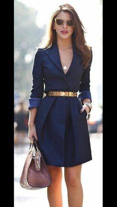 Vestido azul i dorado office