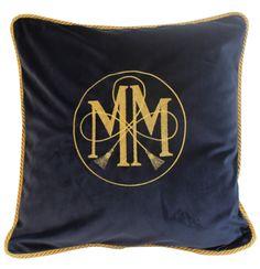 Ma Maison pillowcase-embroidered navy velvet