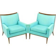 Paul McCobb Turquoise & Walnut Club Chairs | Assemblage | 1stdibs.com