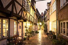 Lichter am Abend in den Fachwerkhäusern von #Lübeck