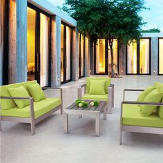 Tired of seeing the same old traditional style of deep seating furniture?  Lime green just rocks!