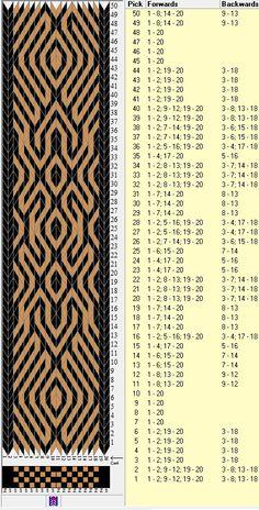 20 tarjetas, 2 colores, repite cada 38 movimientos // sed_306b diseñado en GTT༺❁