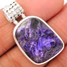 Charoite 925 Sterling Silver Pendant Jewelry CROP685 - JJDesignerJewelry