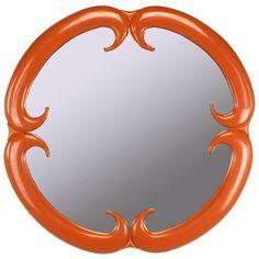 Baker Furniture Cinnabar Red Quatrefoil Mirror   1stdibs.com