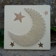 Nursery String Art, Moon String Art, Moon and Star String Art, Nursery Decor, Cream & Bronze Nursery Decor String Art, Nursery Decor, Bronze, Moon, Cream, Stars, Unique Jewelry, Handmade Gifts, Baby