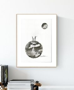 original abstract painting black&white poster with the moon, poster of the moon phase, hand-painted, poster for the living room, bedroom Ink Painting, Watercolor Paintings, Minimalist Painting, Modern Art, Abstract Art, Original Art, Gallery Wall, Black And White, The Originals