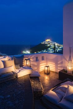 Astypalea island, Greece perfect balcony of master bedroom love these lights and setting