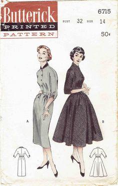 50s Shirtwaist Dress Pattern Butterick 6715. Kimono Sleeve Dress with Full or Slim Skirt, Contrast Collar, Shirred Sleeves. Size 14 Bust 32