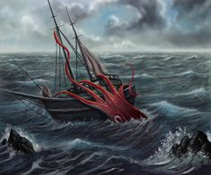 Depiction of Giant Squid Attacking Sailing Ship - Bing Images Kraken, Colossal Squid, Megalodon Shark, Mundo Dos Games, Giant Squid, Octopus Art, Red Octopus, Loch Ness Monster, Deep Blue Sea