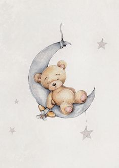 Do you have a little sleeper at home? This teddy bear sure is after a day filled with fun just as it should be! Do you want to create a cozy feeling for the children's room? Then Sleeping Teddy Poster in its soft watercolors will make a good start - and i Teddy Bear Cartoon, Baby Teddy Bear, Cute Teddy Bears, Cute Cartoon, Teddy Bear Drawing, Teddy Bear Nursery, Elephant Nursery Art, Cute Illustration, Watercolor Illustration