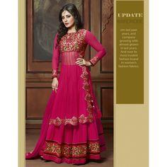 Rimi Sen Pink Net #Anarkali Suits With Dupatta- $45.59