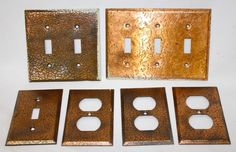 Vintage hammered copper metal electrical switch plate covers Mission Style Deco | eBay