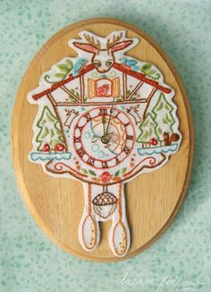 an awesome pdf on how to embroidery your own german clock full of cute! by littledear on etsy $4.00
