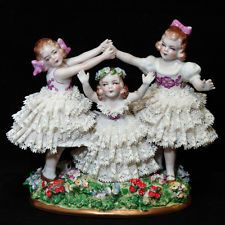 VTG Sitzendorf Germany Porcelain Dresden Lace Figurine Girls Group Playing
