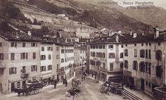 Piazza Margherita, a Longarone. In alto a sinistra, i murazzi (cartolina di Pompeo Breveglieri)