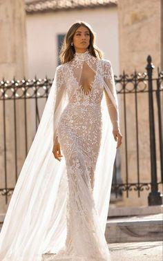 "3010cf938d7 Berta Fall 2019 Wedding Dresses — ""Athens"" Bridal Collection berta fall  2019 bridal long sleeves v neck full embellishment elegant glamorous fit  and flare ..."