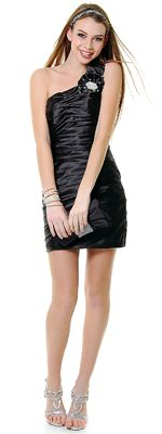 Black Pleated Perfection One Shoulder Cocktail Dress
