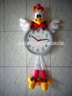 Eu Amo Artesanato: Relógio de galinha com molde