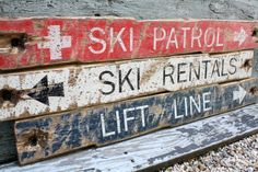 Red White & Blue Ski Patrol Lift Line Ski Rentals Signs Skiing decor skier by TheUnpolishedBarn