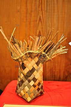 A student's Willow Bark Bias Weave Basket crafted in class with instructor Judy Zugish at John C. Campbell Folk School. | Visit us at www.folkschool.org to find out more about our classes.