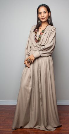 Evening Dress  With Long Sleeves Latte Maxi Dress  Joy by Nuichan, $75.00