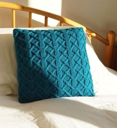 Big & squishy! Generously sized hand knitted cushion cover with a bold interlacing trellis design that would make a lovely addition to any room...Just