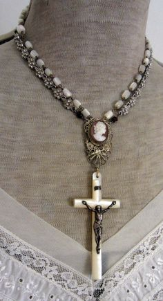 the lady's cross vintage assemblage necklace by TheFrenchCircus,