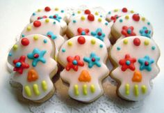 Mini Sugar Skull Sugar Cookies - Day of the Dead by pfconfections on Etsy https://www.etsy.com/listing/251982280/mini-sugar-skull-sugar-cookies-day-of